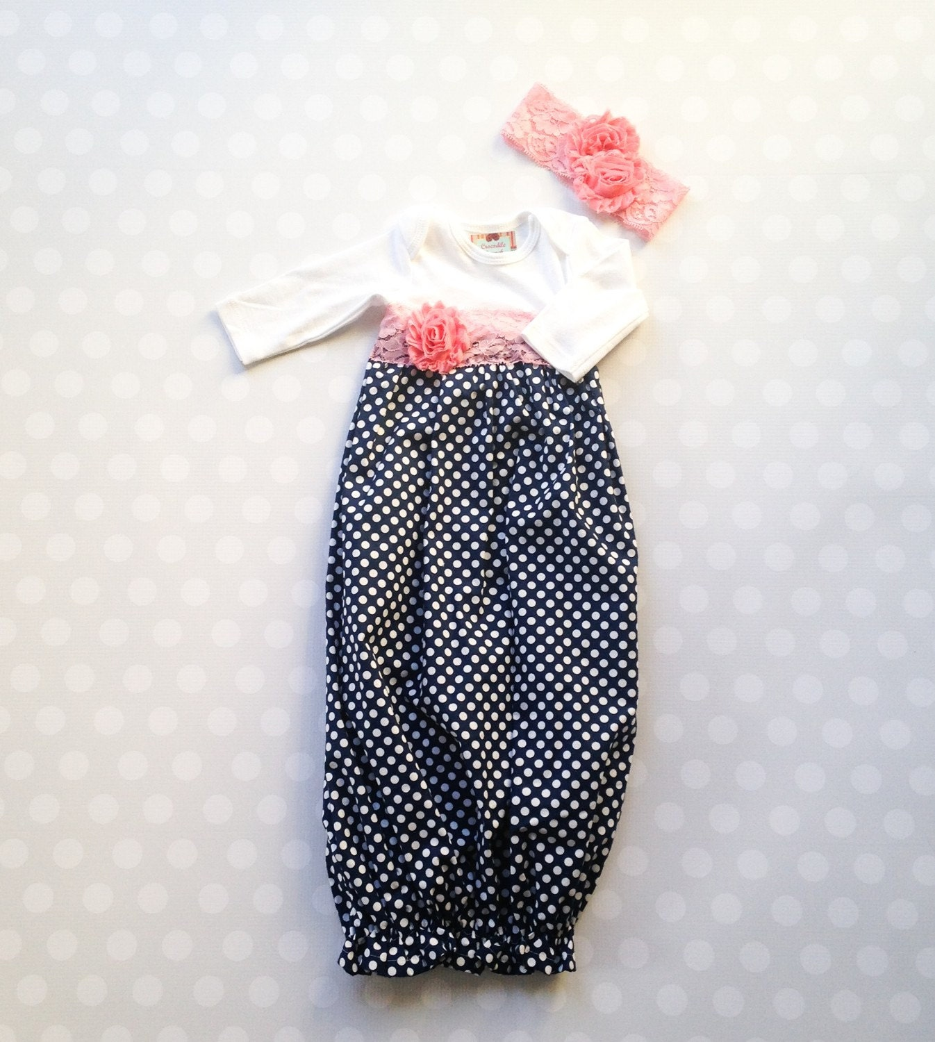 Baby Girl Layette Gown in Navy Polka Dots with Pink Lace ...
