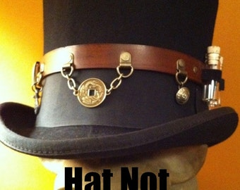 Leather Steampunk Top Hat Utility / Accessory Band / Belt