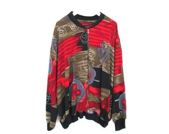 90's Abstract Patterned Bomber Jacket Coat size - L/XL