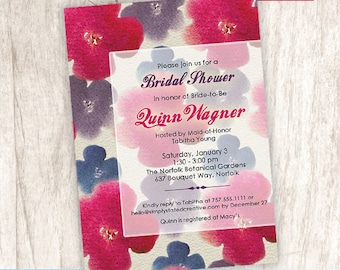 Bridal Shower Invitation, Elegant Flower Shower Invite, Rustic Bridal Invite, Floral - DiY Printable || Blooming Watercolor Canvas 2.0