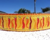 "Sale Dog Collar, Chili Peppers, 1"" wide Quick Release adjustable - Martingale style is a cost upgrade"