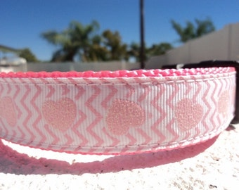 "Sale Dog Collar Quick Release buckle adjustable 1"" wide Pink Hearts Chevron  - no martingale very limited"