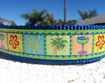 "Sale Dog Collar 3/4"" or 1"" wide Quick Release buckle Tropical Breeze Lime adjustable -martingale collar style is cost upgrade"