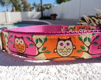 """Sale Dog Collar Tree Owls Pink 1"""" wide Quick Release or Martingale collar adjustable"""