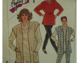 80s Plus Size Knit Dress Pattern, Cowl Neck, Straight, Long Sleeves, Vest, Top, Pull-on Pants, Simplicity No. 7762 UNCUT Size 20 22 24