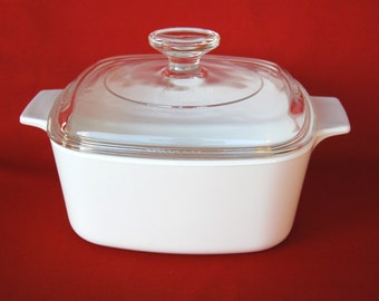 Vintage Corning Ware A 1 1/2 B Covered Casserole All White or Just White 1.5 Liter with Pyrex Lid OPTION for Removable Black Handle