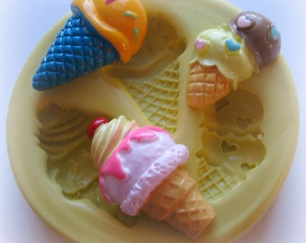 Ice Cream Cone and Scoop Mold Kawaii Mold Polymer Clay Resin Mould