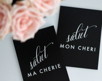 Salut Mon Cheri & Salut Ma Cherie // HELLO MY LOVE prints - 2 5x7 print set (one of each) - printed on shimmer paper