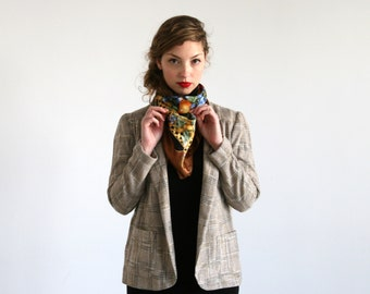 Clearance SALE/ Women jacket / Checkered jacket / Plaid Blazer / Khaki jacket / Long sleeve jacket