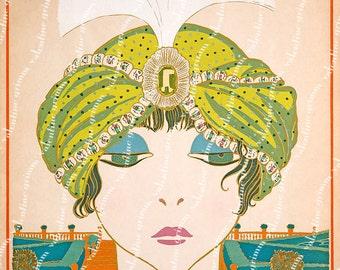 Large Vintage Paul Poiret Turban Fashion Art - 13x15 Digital Printable for Framing & Crafting