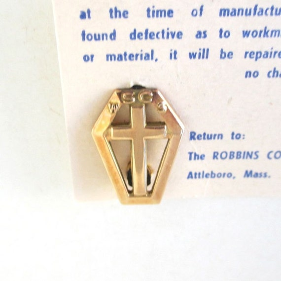 10K Top WSCS Coffin & Cross Lapel Pin on Original Card, Vintage