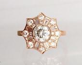 Heiress Ring - Diamond, White Sapphire or Moissanite Engagement Ring - Deco cluster, flower, sunburst, made-to-order, rose/white/yellow gold