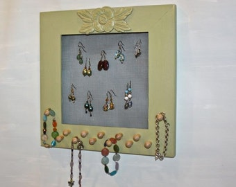Wall Mounted Earring Organizer Storage for Bracelets, Necklaces and Jewelry Accessories.