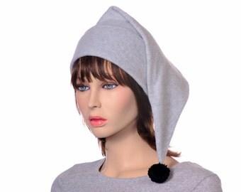 Light Gray Stocking Cap with Black Pompom
