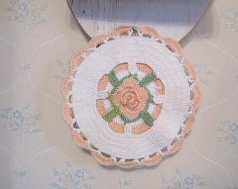 Vintage Peach and White Crochet Hot Pad