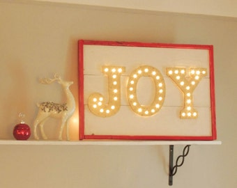 Red, Gold and White JOY Marquee Sign