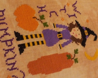 Witch Pumpkin Cross Stitch Pattern