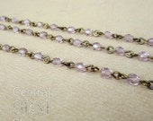 4mm Czech Glass Fire Polished Bead Beaded Rosary Link Chain - 12 inches (1 Foot) Light Amethyst - Antique Brass Links - Central Coast Charms