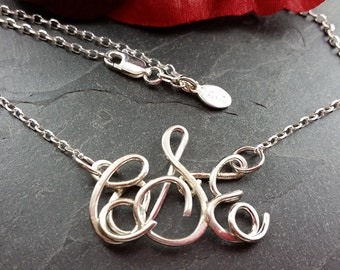 Personalized Sterling Silver Monogram Necklace, initial Jewelry