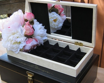 Jewelry Box in Creamy White With Gold Scroll Design - Black Interior with Mirror - Oak Hill Vintage