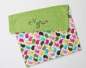 CHOOSE YOUR COLORS Personalized Birds Double Minky Blanket or Lovey - Jade