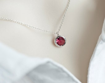 Red Ruby Necklace, Red Ruby Round Glass Drop, Bridesmaids Gift, Dainty Everyday Necklace