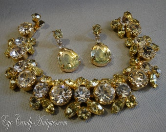 Vintage Rhinestone Bracelet and Earrings Champagne Citrine yellow and clear rhinestones signed Weiss in gold tone metal  excellent condition