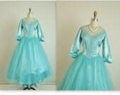 50's Prom Dress // Vintage 1950's Aqua Illusion Lace Tulle Satin Prom Wedding Dress Tea Gown S