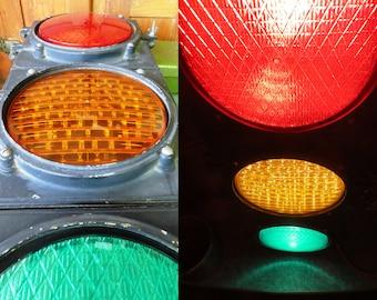 "Vintage 30"" Metal Stoplight: WORKING Electric 3 Light Street Traffic Signal - Bar, Game Room, Mancave Industrial Decor (Just Plug In!)"