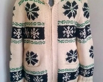 Vintage Mary Maxim 1950's Cowichan Sweater Size Large XL Flowers And Snowflakes