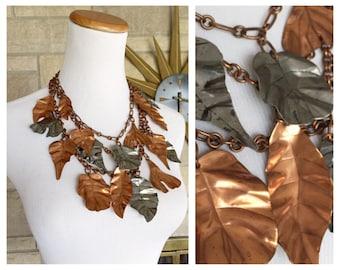Gerda Lynggaard Necklace * Copper Leaf * Statement Necklace