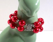 Pearl Cuff Bracelet, Double Strand, Candy Apple Red Pearl Bracelet, Chunky Bracelet, Select Pearl Color