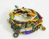 Hippie bracelet, Gypsy bracelet. Rainbow  wristband. Way around the bracelet. Long wrist strap. Bracelet, Custom-made bracelet.