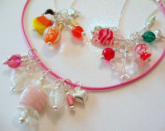 Girl  Candy Necklace, Glow in the Dark, Interchangeable, 365 days a year, 2 necklaces, Fall, Holiday, Pink