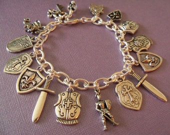 Knight Charm Bracelet, Dragon, Castle, Medieval, Glow in the Dark