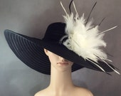 Derby Hat Kentucky Derby Hat Dress Hat Church Hat BLACK Hat Wide Brim Wedding Tea Party Ascot Horse Race