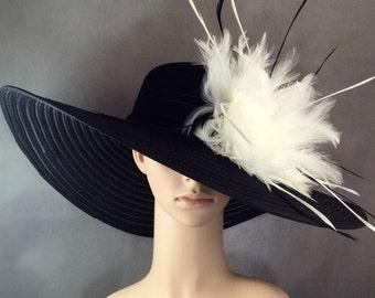 Women's Black Kentucky Derby Hat Dress Hat Church Wide Brim Wedding Tea Party Ascot Horse Race