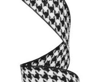 Black White Houndstooth Ribbon RW5345X6, Mesh Supplies, Poly Mesh Supplies