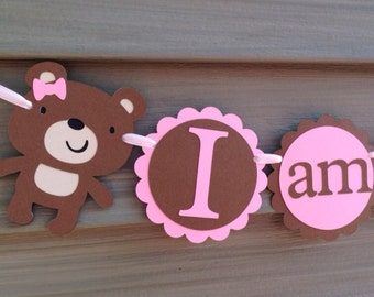 Bear Birthday, Happy Birthday, First Birthday, Personalized Banner, Boy Birthday, Girl Birthday, I am 1 banner, teddy bear Party