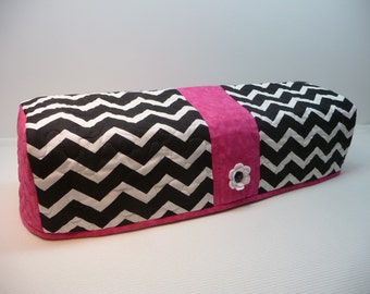 BLACK and WHITE CHEVRON with Fuschia - Explore Cozy - Explore Dust Cover - Cricut Cover - Cricut Cozy - Cricut Dust Cover