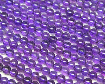 Natural Purple Amethyst Smooth Polished Round Ball Beads, 11 inches, 4mm, SKU7143/S