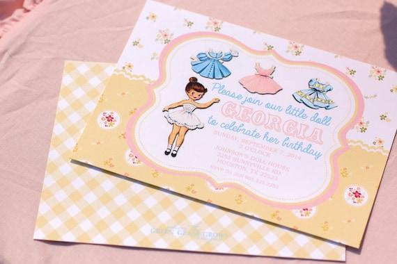 Vintage Paper Doll Invitation Printable
