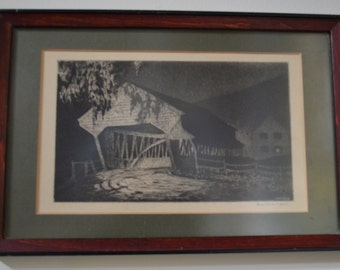 Covered Bridge At Night  - Alice Standish Buell Framed Signed Original Etching Lithograph 1940s Rustic Country Home Decor