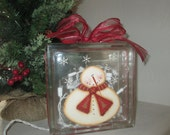 Snowman Glass Cube with Twinkle Lights - Christmas Decoration Light