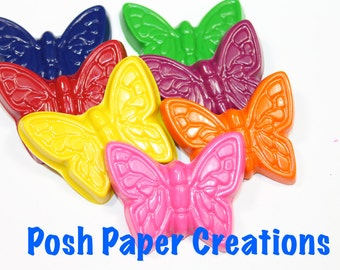 15 sets of 2 butterfly crayons - in cello bag tied with ribbon - 30 crayons - choose your colors