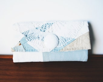 White and Chambray Patchwork Trifold Clutch Wallet with Button and Lace Doily