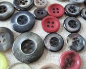 Over 45 BUTTONS  Various Colors Shapes Sizes Vintage Variety