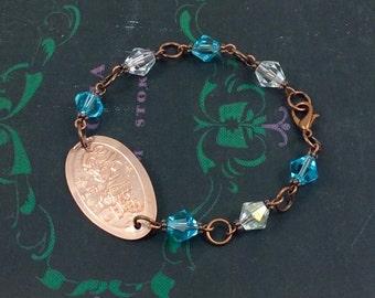 NEW Disney's FROZEN - ELSA - Swarovski Bead Bracelet - Pressed Penny  -  Let It Go