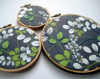 Hand Embroidered Leaves. leaf motif embroidery. three hoops:  3, 4 and 6 inches. garden. nature lover's gift. hoop art embroidery by mlmxoxo