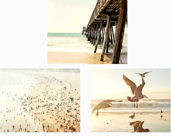 Beach Print Set, Set Of Three Photographs, Beach Photography, Pale Wall Art, Beach House, California, Pier,  5x7, 8x10, 11x14, 16x20